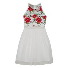 Girls 7-16 IZ Amy Byer Embroidered Floral Fit & Flare Dress