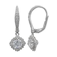 PRIMROSE Sterling Silver Cubic Zirconia Square Halo Leverback Earrings