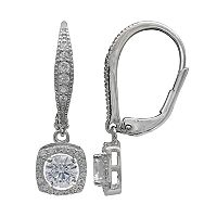 PRIMROSE Sterling Silver Cubic Zirconia Cushion Drop Leverback Earrings