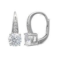 PRIMROSE Sterling Silver Cubic Zirconia Pave Leverback Earrings