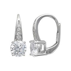 PRIMROSE Sterling Silver Cubic Zirconia Pave Leverback Earrings