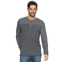 Men's Mountain and Isles Striped Colorblock Heathered Melange Stretch Henley