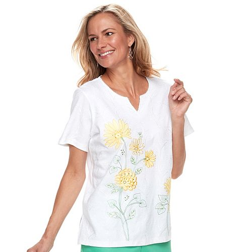 Petite Alfred Dunner Studio Floral Embroidery Top