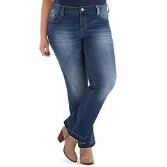 Juniors' Plus Size Amethyst Faded Baby Bootcut Jeans
