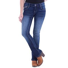 Juniors' Amethyst Faded Baby Bootcut Jeans