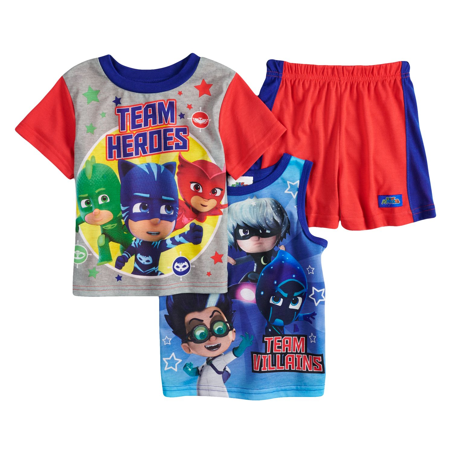 Toddler Boy PJ Masks Catboy, Gekko, Owlet U0026 Villains Tops U0026 Shorts Pajama  Set
