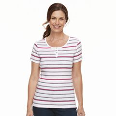 Women's Croft & Barrow® Button Accent Scoopneck Tee