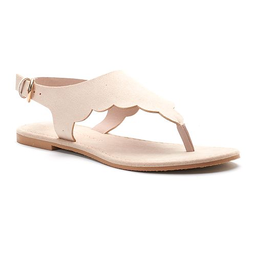 4677181173ad8 LC Lauren Conrad Women s Scalloped Slingback Thong Sandals
