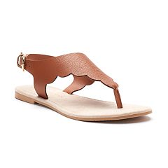 LC Lauren Conrad Women's Scalloped Microsuede Slingback Thong Sandals