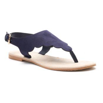 LC Lauren Conrad Women's ... Scalloped Slingback Thong Sandals
