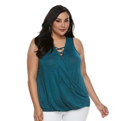 Plus Size Jennifer Lopez Lace-Up Tank
