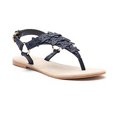 LC Lauren Conrad Women's Floral Applique Slingback Thong Sandals