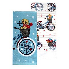 Celebrate Americana Together Puppy Bicycle Kitchen Towel 2-pack