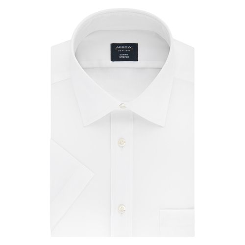 Slim Fit Stretch Short Sleeved Dress Shirt