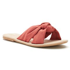 LC Lauren Conrad Women's Knotted Microsuede Slide Sandals