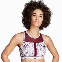 Danskin Pintuck High Neck Medium-Impact Sports Bra 7235
