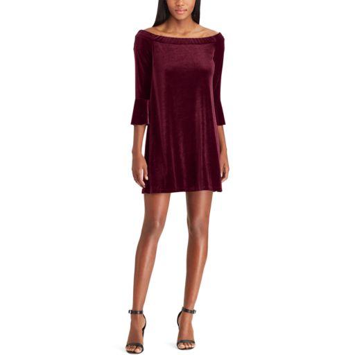 Women's Chaps Off-the-Shoulder Velvet Dress