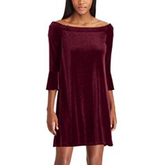 Women's Chaps Off-the-Shoulder Velvet Dress