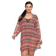 Plus Size Apt. 9® Zigzag Lace-Up Cover-Up