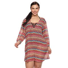 Plus Size Apt. 9® Zigzag Lace-Up Cover-Up