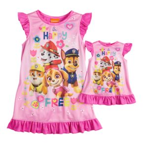 Toddler Girl Paw Patrol Skye, Chase, Marshall & Rubble Dorm Nightgown & Doll Nightgown