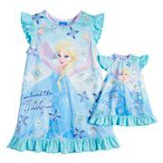 Disney's Frozen Elsa Toddler Girl 'Unleash the Magic' Dorm Nightgown & Doll Gown Set