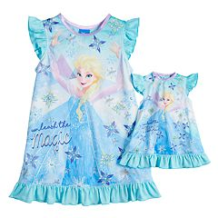 Disney's Frozen Elsa Toddler Girl 'Unleash the Magic' Dorm Nightgown & Doll Gown Set