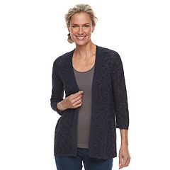 Women's Croft & Barrow® Pointelle Open Front Cardigan