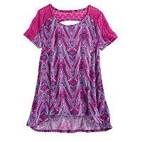 Girls 7-16 Mudd® Lace-Pieced Keyhole Swing Tee