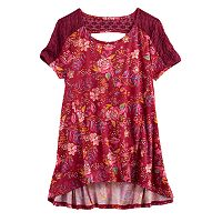 Girls 7-16 Mudd® Lace-Pieced Keyhole Swing Tee