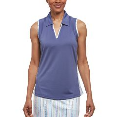 Women's Pebble Beach Printed Trim Sleeveless Golf Polo