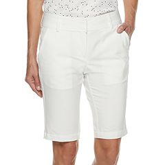 Women's Pebble Beach White Mid-Rise Golf Bermuda Shorts