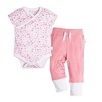 Baby Girl Burt's Bees Baby Mini Flower Wrap Front Organic Bodysuit & Pant Set