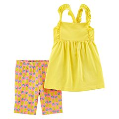Toddler Girl Carter's Ruffled Tank Top & Pineapple Bike Shorts Set