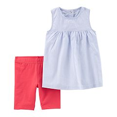 Toddler Girl Carter's Striped Babydoll Tank Top & Bike Shorts Set