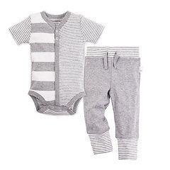 Baby Boy Burt's Bees Baby Snap Front Stripe Organic Henley Bodysuit & Pant Set