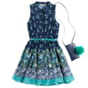 Girls 7-16 & Plus Size Knitworks Floral Belted Skater Dress with Necklace & Crossbody Purse