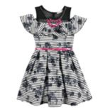 Girls 7-16 & Plus Size Knitworks Belted Cold Shoulder Ruffle Skater Dress with Necklace