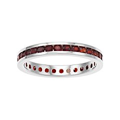 Traditions Sterling Silver Channel-Set Garnet Birthstone Ring