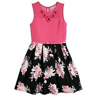 Girls 7-16 & Plus Size Knitworks Belted Floral Skater Dress with Necklace