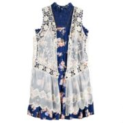 Girls 7-16 & Plus Size Knitworks Crochet Vest & Floral Lace Dress Set with Necklace
