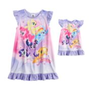 "Toddler Girl My Little Pony ""Adventure"" Rainbow Dash, Pinkie Pie, Twilight Sparkle & Fluttershy Dorm Nightgown & Doll Nightgown"