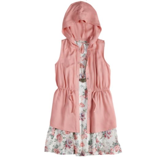 Girls 7-16 & Plus Size Knitworks Hooded Vest & Floral Lace Dress Set with Necklace