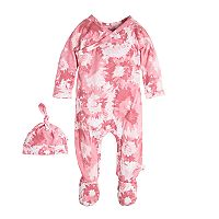 Baby Girl Burt's Bees Baby Wrap Front Footed Organic Coverall & Hat Set
