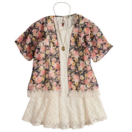 Girls 7-16 & Plus Size Knitworks Floral Kimono & Lace Dress with Necklace