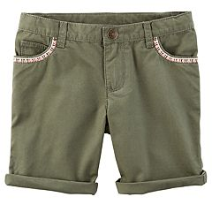 Toddler Girl Carter's Embroidered Rolled-Cuff Twill Shorts