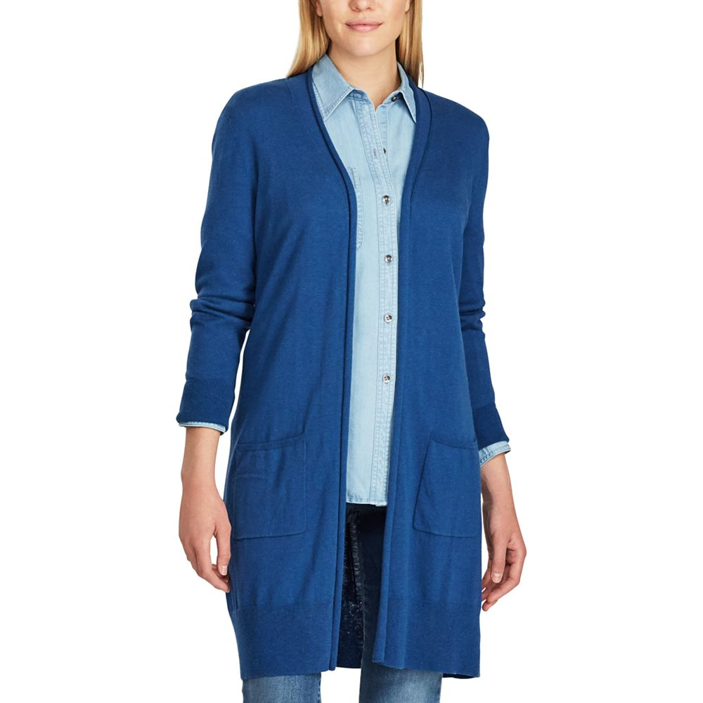 Chaps Open-Front Long Sleeve Cardigan