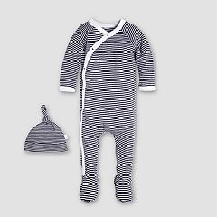 Baby Boy Burt's Bees Baby Footed Organic Kimono Coverall & Hat Set