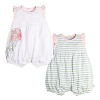 Baby Girl Burt's Bees Baby 2-pk. Watercolor Bloom Organic Bubble Rompers