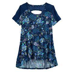 Girls 7-16 Plus Size Mudd® Lace-Pieced Keyhole Swing Tee